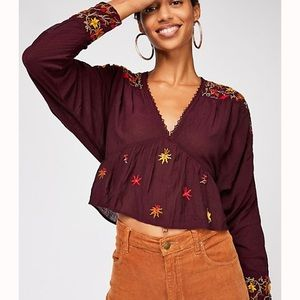 Free People Ava Embroidered Blouse NWT